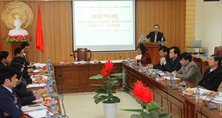 Đồng chí Nguyễn Tiến Thành, Phó Bí thư Thường trực Tỉnh ủy, Trưởng BCĐ tỉnh phát biểu chỉ đạo tại hội nghị.